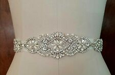 "Wedding Dress Sash Belt - Crystal Pearl SASH BELT = 13"" long"