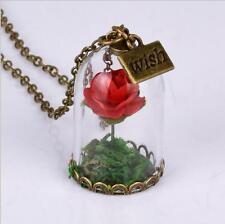 Newest Beauty and the Beast Bell Glass Necklace Rose Vial Flower Dome Cute Gift