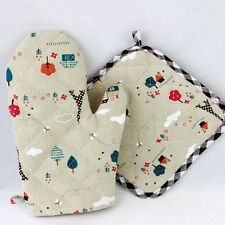 New Single Oven Mitt Pot Holder Set Cotton Kitchen Baking Grill Heatproof Glove