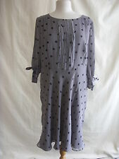Ladies Dress - Linea, size 18, grey/black spot, silk, pleat front, pretty 2201