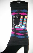 CLOSEOUT 1 Pair Women ARGYLE LEG WARMERS Magenta/Teal, Purple/Lime, and Navy/Red