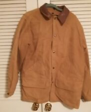 WOOLRICH Vintage Tan Cotton Canvas Blanket Liner Barn Jacket Leather Collar M