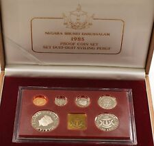 1985 Brunei Gem Proof Set 6 Coins One Token Cracked Case in Wooden & Velvet Box