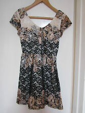 Cream Black Brown Floral Lacey Mini / Short V Neck TopShop Dress in Size 8