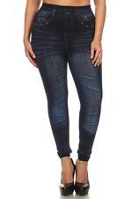 Plus Size Leggings XL-2X Faux Denim Jeans Blue Polyester Spandex Cotton ALWAYS