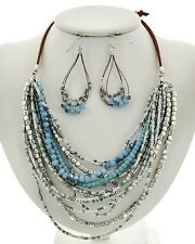 Multi Layers Silver Tone Bead Blue Faceted Glass Bead Necklace Earring Set
