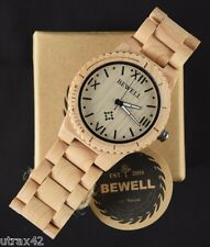 Mens Casual Wooden Watch Maple Wood Roman Numerals Round Face Bewell Wristwatch