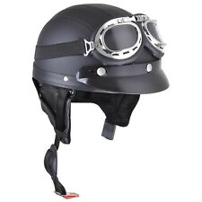 Retro Motorcycle Scooter Harley Half Helmet Open Face Goggles Visor Scarf Black