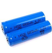 2 Lithium Ionen Akku 4,2 V  6800 mAh Typ 14500 Li ion Größe 50 x 14 mm AA Größe