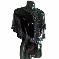 Dorris 1920's Great Gatsby Art Deco Beaded Capelet Embellished Black Shrug, S-XL