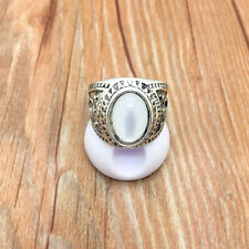 NEW Vintage Jewelry 316L Stainless Steel Fashion design Beige Ring Size 8 R75T8