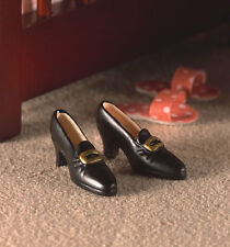 Black Ladies Shoes, Dolls Miniature Accessory, 1.12th Scale