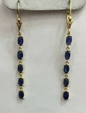 14kSolid Yellow Gold Dangle Leverback Earrings Natural Sapphire Oval:2.90CT2.01G