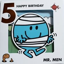 Felice 5th Compleanno Mr Bump Card, Mr Men, Adatto A, Maschio o Donna Nuovo di Zecca