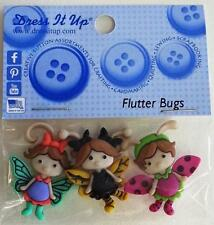 NOVELTY BUGS INSECTS 'FLUTTERBUGS' SHANK BUTTONS FOR CLOTHING CRAFTS DRESS IT UP