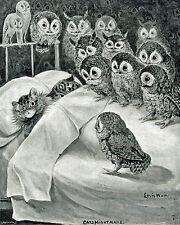 "Large 12x15"" Louis Wain Cat Nightmare Owl Painting Real Canvas Giclee Art Print"