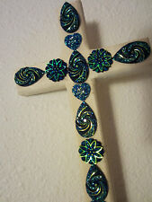 HEART BLING PEACOCK BLUE CROSS EASTER WOOD WALL DECOR UNIQUE PLAQUE HANDCRAFTED