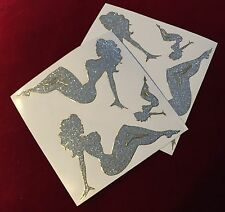 SIX Sexy Pin Up Girl Glitter Chrome Mud Flap Trucker Large Stickers 2 Sheets