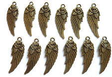 12 x  BRONZE COLOUR ANGEL WING PENDANT WITH A ROSE CHARM 31 x 10mm