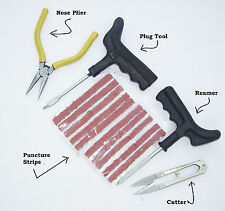 Complete Tubeless Tyre Puncture Repair Kit (Nose Pliers + Cutter + Extra Strips)