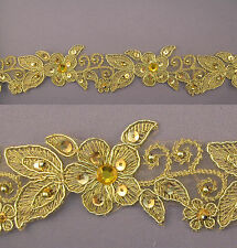 "Handmade Embroidered Corded Beaded Edging Motifs Trim 1 1/2 "" width M Gold  #7"