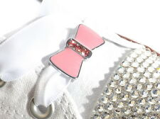 Pair of Pink & Crystal Bow Shoe Charms & 120 White Satin Ribbon Shoelaces Laces