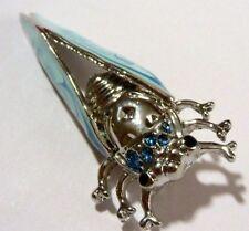 broche collection qualitée couleur argent cigalle bleu relief émail arbre  *880