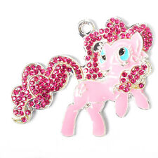 1pc New 36x46mm Pinkie Pie Rhinestone Alloy Pendant for Chunky Necklace DIY