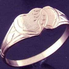 14KT REAL GENUINE ROSE VERMEIL GOLD ANITIQUE HEART SOLID SIGNET RING SZ M / 6