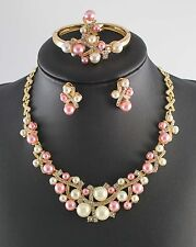 Gold Plated Bridal Jewelry Sets Pearl Rhinestone Crystal Wedding Necklace Set
