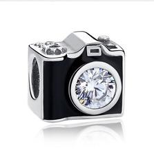 2pcs Silver Camera European Charm Crystal Spacer Beads Fit Necklace Bracelet NEW