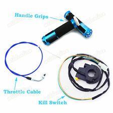 Blue Handle Grip Kill Switch Gas Throttle Cable For Motorized Bicycle Push Bike