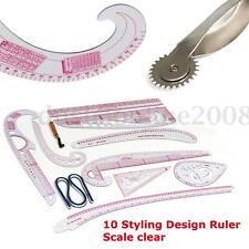 10pcs Style Design Conception Vêtement Dessin Ligne Règle Mesure Plan d'étage