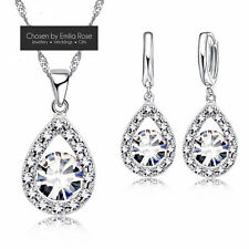 925 Silver Bridesmaid Wedding Jewelry Set, Crystal Necklace & Earrings Jewellery