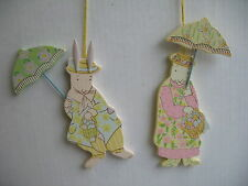 GISELA GRAHAM EASTER VICTORIAN PAINTED WOOD BUNNY COUPLE DECORATION