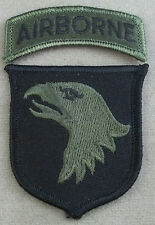 US Army 101st Airborne Division Subdued Merrowed Edge Patch With Tab