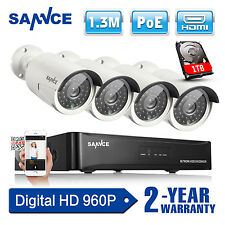 SANNCE HD 960P 4CH HDMI NVR PoE IP Network CCTV Home Security Camera System 1TB