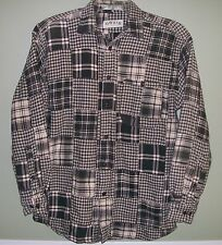 Orvis Madras Plaid Patchwork Shirt sz M Dark Olive Flannel L/Sleeve Button Front