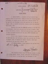 RARE  SUPERMAN GEORGE REEVES  SECOND CODICIL LAST WILL AND TESTAMENT