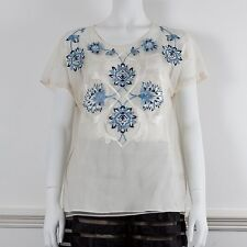 TEMPERLEY Short Sleeve Mesh Embroidered Cream & Blue Top with Strappy Slip UK 14