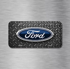 Ford Vehicle License Plate Front Auto Tag Black NEW Diamond Plate f150 f250 f350