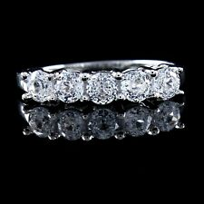 14K Solid White Gold 1.50Ct Round Cut D/VVS1 Wedding Band Ring