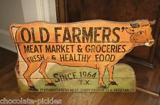 BiG Farmer Grocery Meat Dairy Market COW Wood Wall SIGN*Primitive/French Country