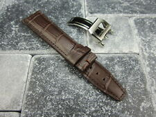 20mm Leather Strap Deployment Buckle Brown Watch Band SET IWC PILOT Portuguese R
