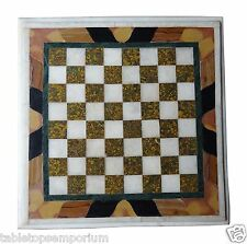 "18""x18"" Marble Coffee Table Top Chess Design Handmade Hallway Decor Arts"