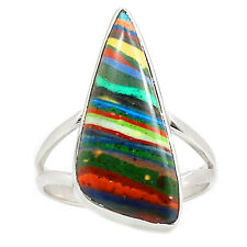 Rainbow Calsilica 925 Sterling Silver Ring Jewelry s.9.5 SR199549