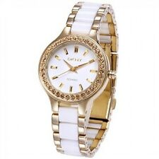 DKNY WHITE CERAMIC GOLD-TONE WITH CRYSTAL STAINLESS STEEL WOMEN'S WATCH NY8140
