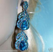 Peacock Feather Chandelier Earrings Rhinestone Pageant Austrian Crystal Aqua 2.8