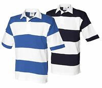 Mens Sewn Stripe Rugby Shirt Short Sleeve Casual Top S-XXL New By Front Row