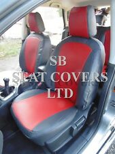 TO FIT A NISSAN QASHQAI 2010 CAR SEAT COVERS,DEEP RED +DARK GREY LEATHERETTE